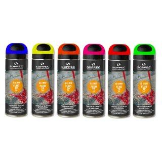 (EUR 9,90/L) 500ml Dosen Soppec FluoTP Markierspray Markierfarbe rosa gelb blau