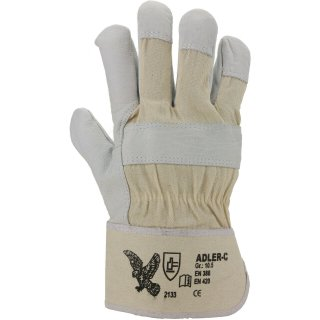 Adler C Lederhandschuhe, gefüttert, gummierte Stulpe,  Gr. 10,5 Handschuhe