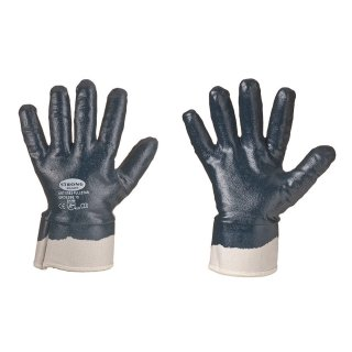 STRONG HAND® FULLSTAR, 100% Baumwollhandschuh mit blauer Nitril-Vollbeschichtung, u. Segeltuch-Stulpe, nach EN388