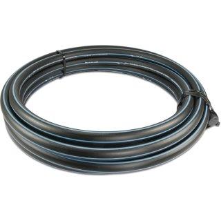 PE-Druckrohr PE80, SDR 11, DVGW-Zulassung, Farbe: schwarz/blau, 12,5 bar, Größe: 20 25 32 40 mm, Rolle á 10 25 50 m