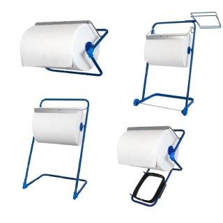 Bodenständer / Wandhalterung für Putztuchrollen bis 40 cm Rollenbreite, Metall, verschiedene Ausführungen