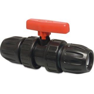 PP, PVC-U Kugelhahn, Typ Safe 500 , rot, 20 mm - 63 mm, Klemm x Klemm, 10 bar