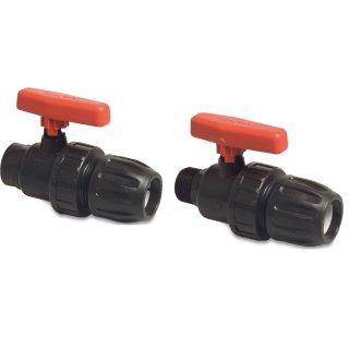PP, PVC-U Kugelhahn, Typ Safe 501/502, Klemm x Innengewinde/Außengewinde, rot, 20 mm - 63 mm, 10 bar