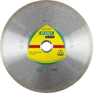 Klingspor DT 600 F Supra Diamanttrennscheibe, für Feinsteinzeug, Kacheln und glasierten Ofenkacheln, 100 - 230 x 1,6 x 22,23