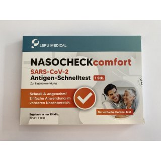 LEPU Medical NASOCHECKcomfort SARS-CoV-2-Antigen Schnelltest, einzeln verpackt, Preis pro Stück
