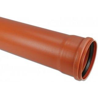 KGEM Rohr, PVC-U, SN4, DN110 - 500 mm, Länge: 0,5 m - 5 m, Steckmuffe x Glatt, rostbraun