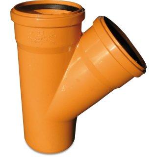 KGEA Einfachabzweig reduzierend, 45°, PVC-U, SN4, DN110 - 200 mm, Steckmuffe x Steckmuffe x Glatt, rostbraun