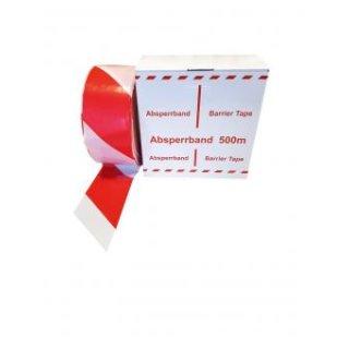 Baustellen-Absperrband, Farbe: rot/weiß, Breite: 80 mm, extrem reißfest, Länge: 500 m